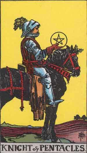 Pentacles Knight tarot card