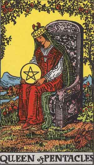 Pentacles Queen tarot card